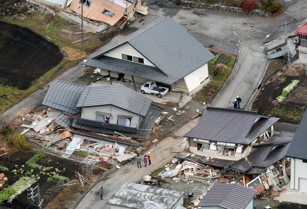 Damaged homes in the Horinouchi community.