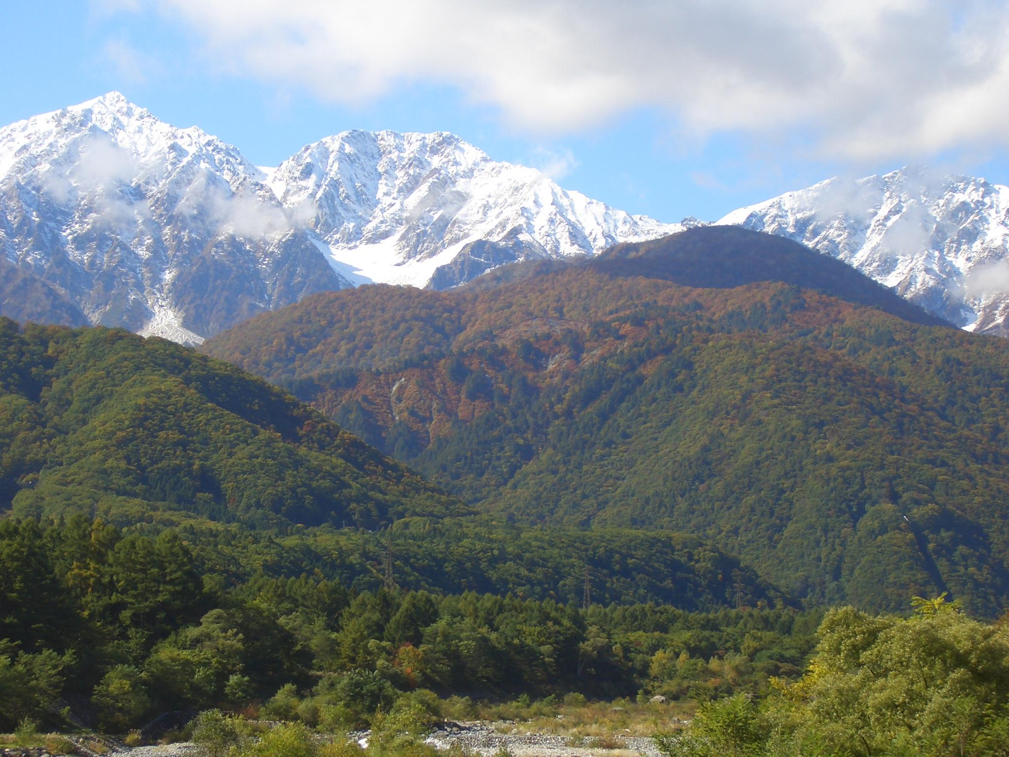 Hakuba three peaks from Matsukawa river